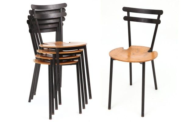 High Quality Stackable Metal U0026 Oak Dining Chairs | Red Modern Furniture