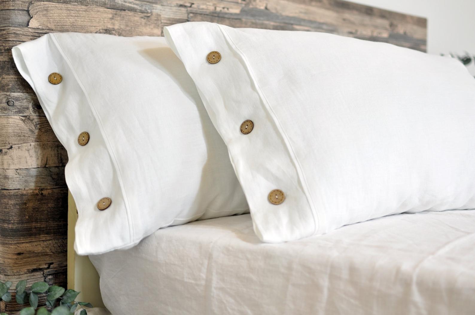 white linen pillowcase with button