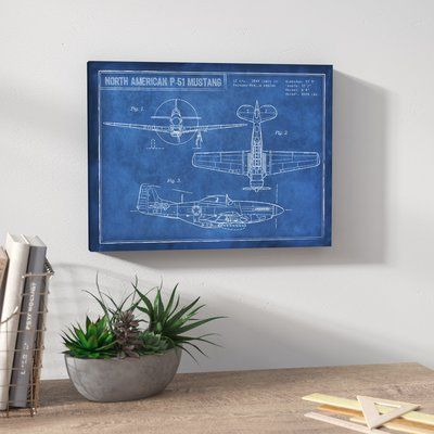 Trent austin design american p 51 blueprint framed graphic art trent austin design american p 51 blueprint framed graphic art print on wrapped canvas size 12 h x 16 w x 15 d graphic art canvases and printing malvernweather Choice Image
