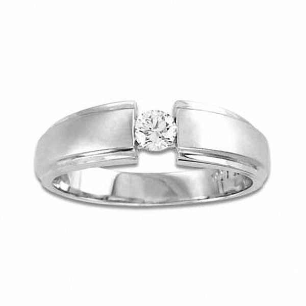 Men S 1 4 Ct T W Diamond Wedding Band In 14k White Gold Diamond Wedding Bands Mens Diamond Wedding Bands Wedding Bands