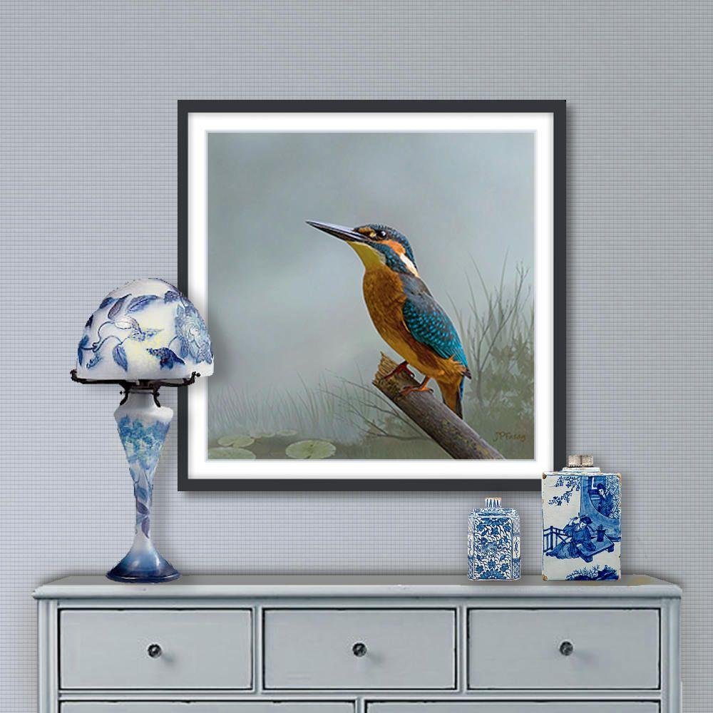 Peinture numérique, Martin pêcheur, art numérique à télécharger et imprimer sur toile ou papier ...