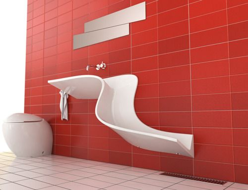 Bathroom Sink ( red tile / modern / contemporary / cool / innovative / style / stylish / unique / faucet / mirror - Home Decorating Ideas )
