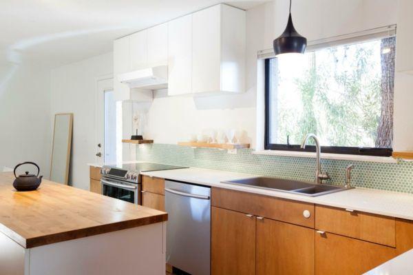 kücheneinrichtung küchenideen küchenregale kleine küche einrichten ...