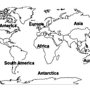 World Map of All Continents Coloring Page: World Map of