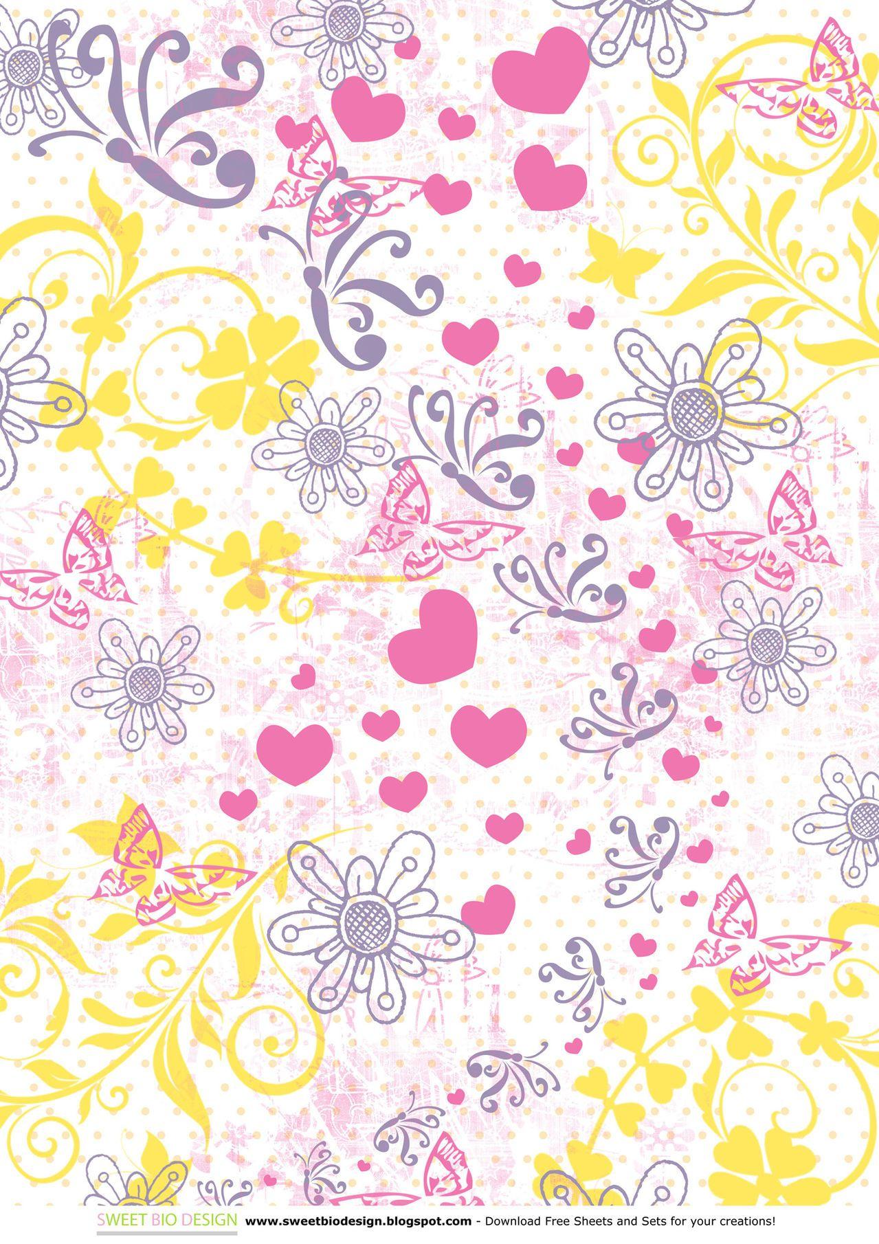 Set di Carte Scrap: SWEET BUTTERFLIES (scrap paper set) by sweetbiodesign.blogspot.it