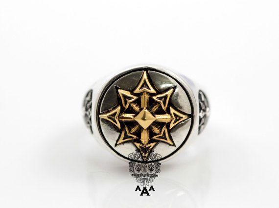 Symbol of Chaos ringChaos star ringSterling Silver Chaos ...