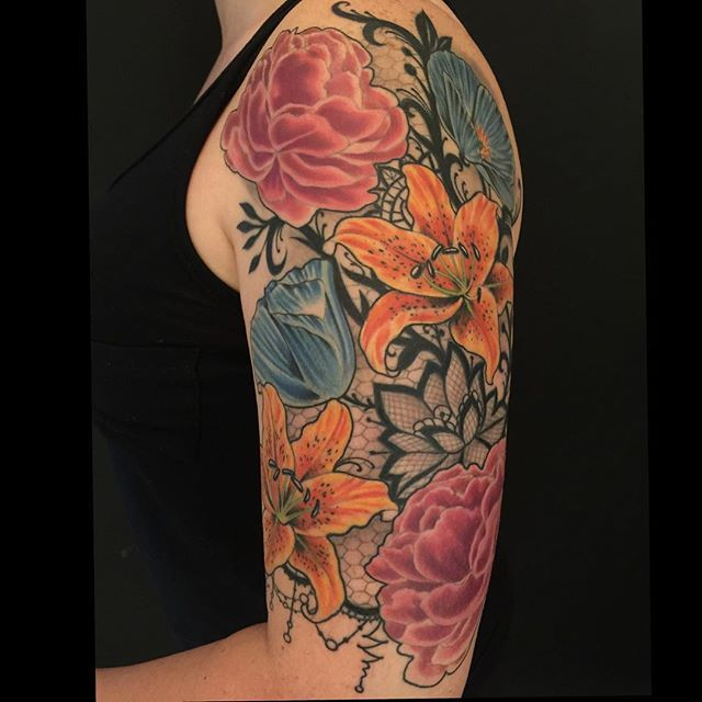 Photo Realistic Flower Tattoos Google Search: Flowers And Lace Tattoos - Google Search