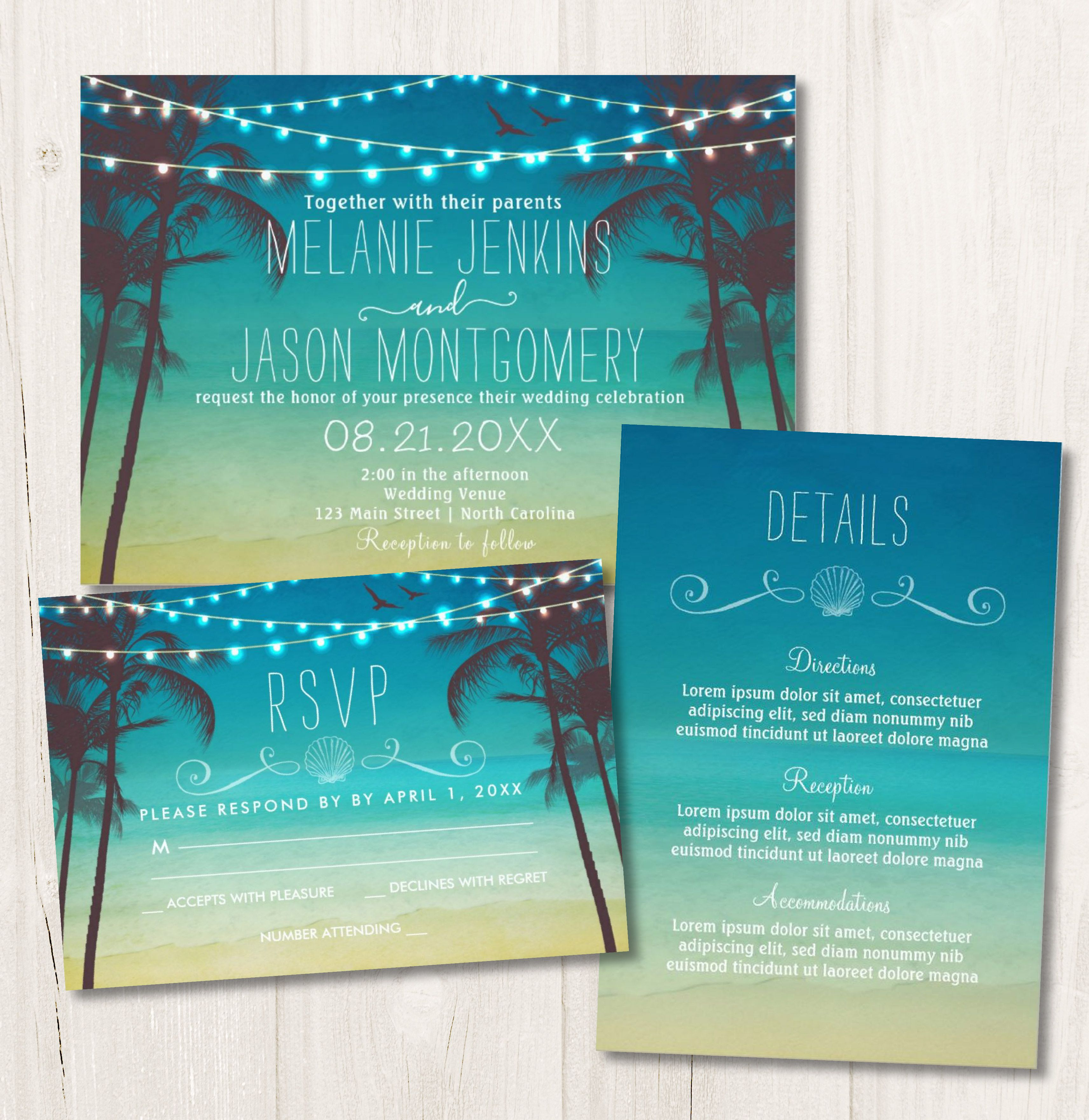 Beach Wedding Invitation Collection, Tropical Palm Trees and Lights ...