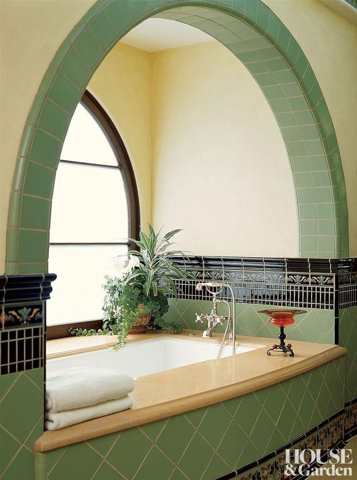 Gorgeousbathtub Beautifulbathtub Masterbath Spanishrevival Revival Tile Mint Black Beautifulbathrooms Faucet Art Deco Home House Design Interior Deco