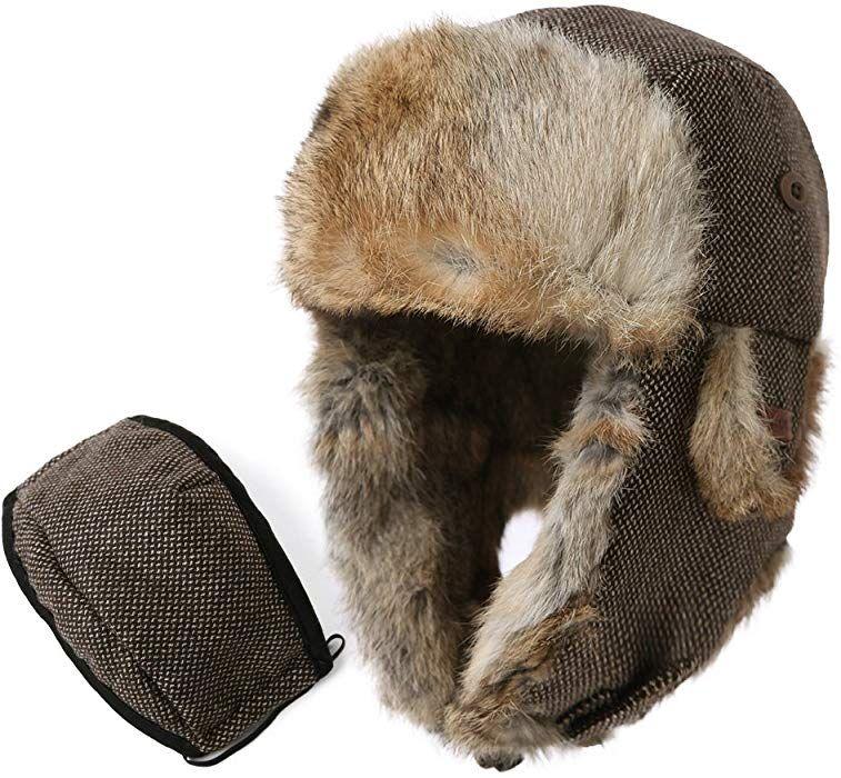 Amazon.com  SIGGI Trapper Hat Rabbit Fur Aviator Hat Ear Flaps Russian  Winter Wool Trooper Pilot Hat Mask Men L  Clothing 6d11639f110