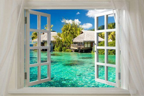 Window onto PARADISE ISLAND scenic poster 24X36 turquoise water palm trees