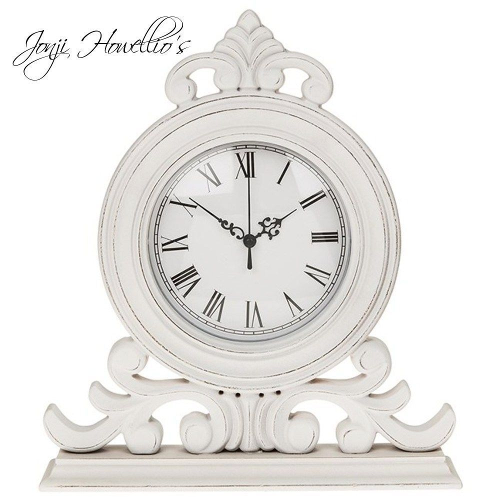 White Shabby Chic Mantel Clock Standing Scroll Roman Numerals Vintage Clock In Home Furniture Diy Clocks D Shabby Chic Clock White Shabby Chic Shabby Chic