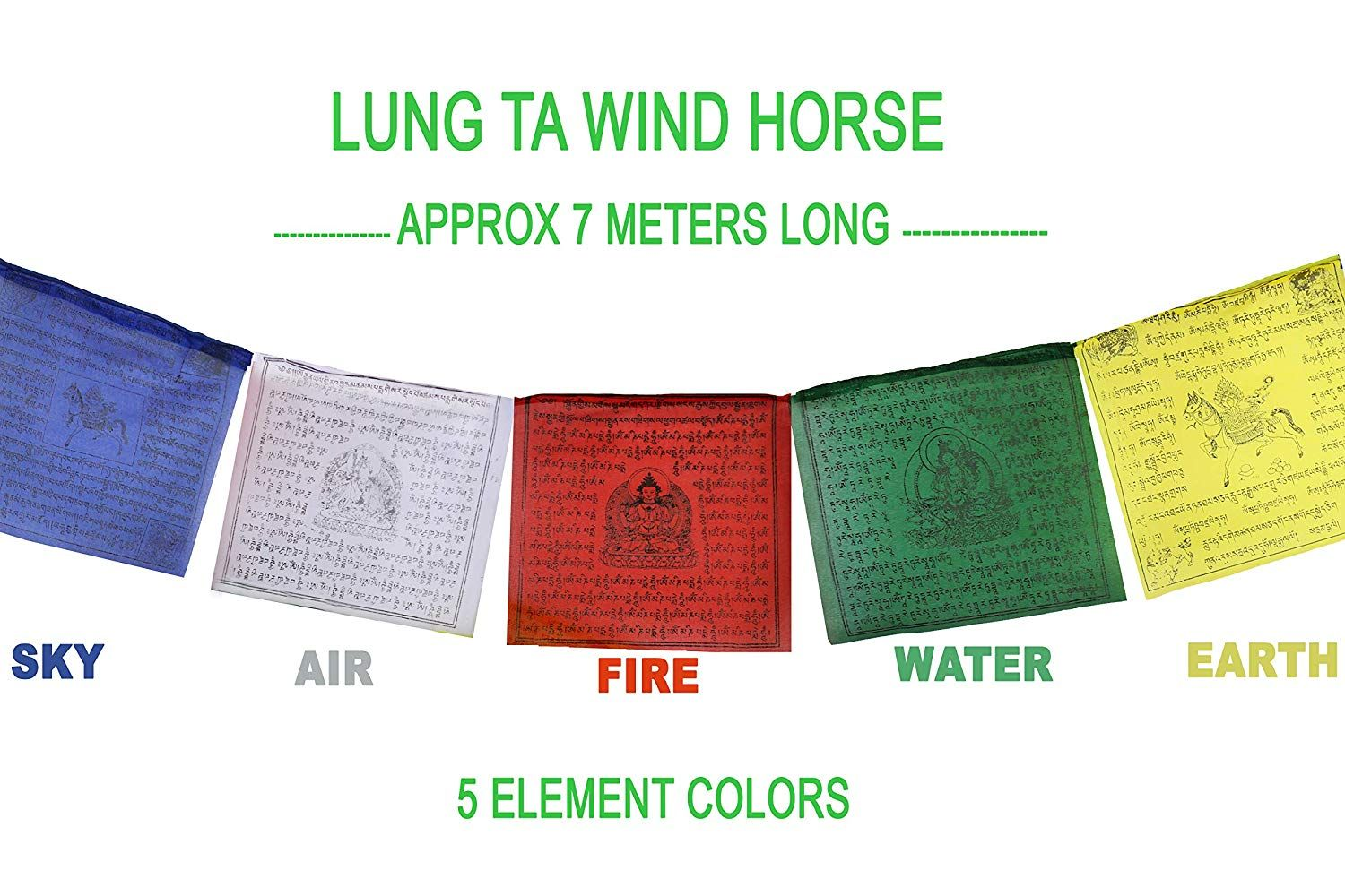 Tibetan Prayer Flag 10 X 10 Inches Large Roll Of 25 Flags Traditional Design With 5 Element Colors Handmade Tibetan Prayer Flag Prayer Flags Outdoor Flags