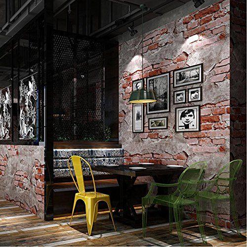 Tapeten Retro- Weinlese-Zement-Ziegelstein-Wand-Muster 3D Rolle für - retro tapete wohnzimmer