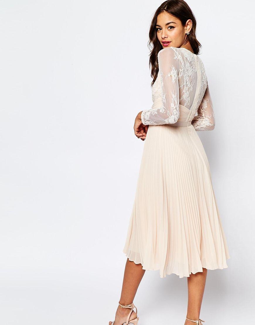 a74cd7de6413 Vintage Lace Bodice Long Sleeve Tea Length Nude Chiffon Petite Evening Dress