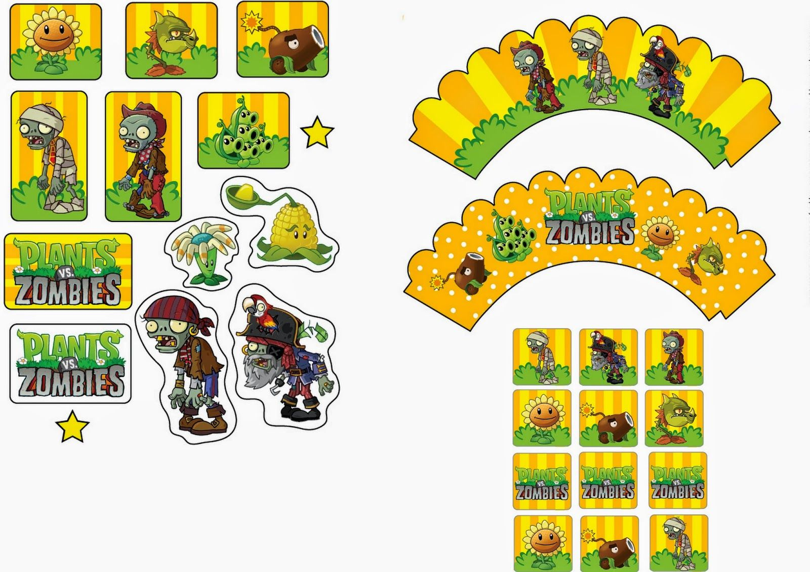 Plants vs Zombies Free Printable Cupcake Toppers and Wrappers Party ideas Pinterest
