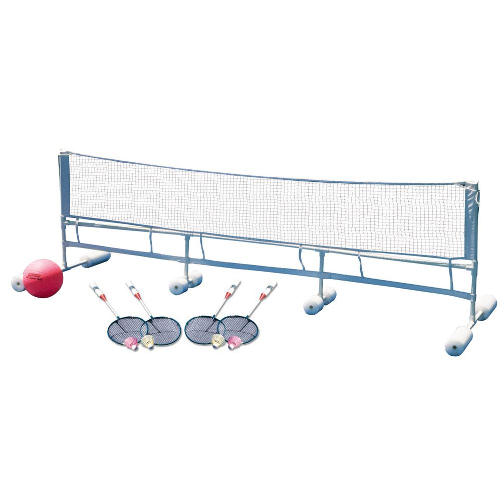 Poolmaster Floating Water Volleyball And Badminton Super Combo Pool Game 72708 The Home Depot In 2020 Water Volleyball Pool Games Badminton Games