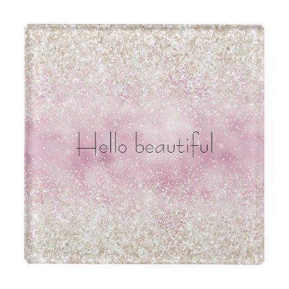 Girly Glam Pink White Glitter Sparkle Glass Coaster