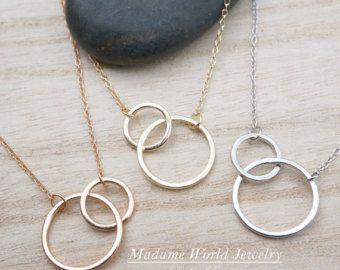 50498256feae16 Sterling Silver Interlocking Circle Necklace, Karma Necklace, Intersecting  Circles, Eternity Necklace