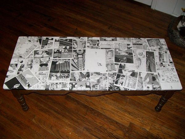 Mobili decoupage ~ Decoupaged comic book coffee table this one use black and white