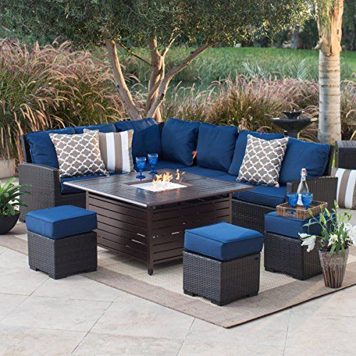 Outdoor Patio Furniture Set With Gas Fire Pit All Weather Set Clearance Multiple Colors Indigo Blue B Fire Pit Patio Set Fire Pit Table Set Fire Pit Patio