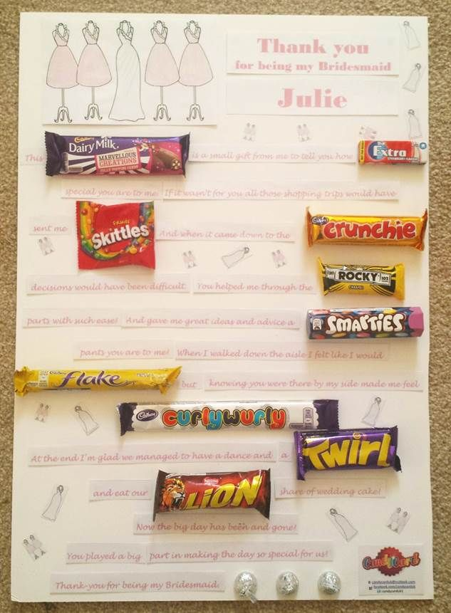 say thank you to your bridesmaid the candy card way