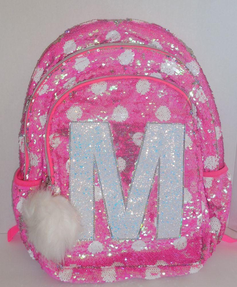 c79942553e88 Girls JUSTICE Flip Sequins Backpack Bookbag Initial M Pink White ...