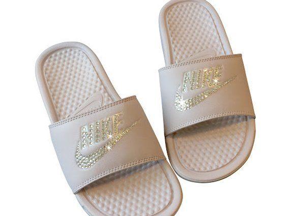 a5045cff4646 Women s Nike Slides ROSE Color Bedazzled with Swarovski - Benassi JDI Slip  on Sparkly Nike Sandals