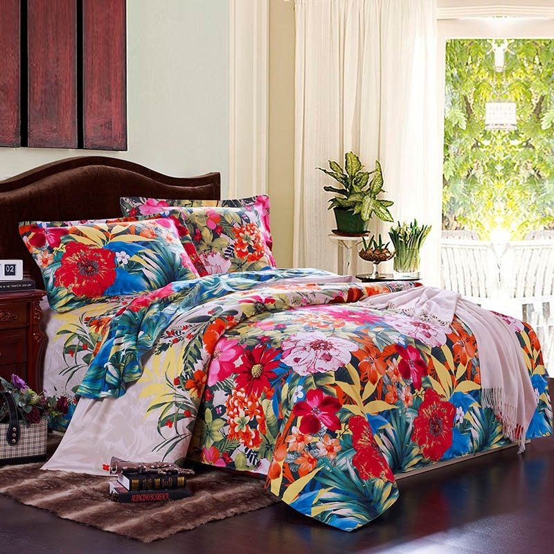TROPICAL HIBISCUS FLOWER HUMMINGBIRD COMFORTER PILLOW SHAM SHEET Island Beach