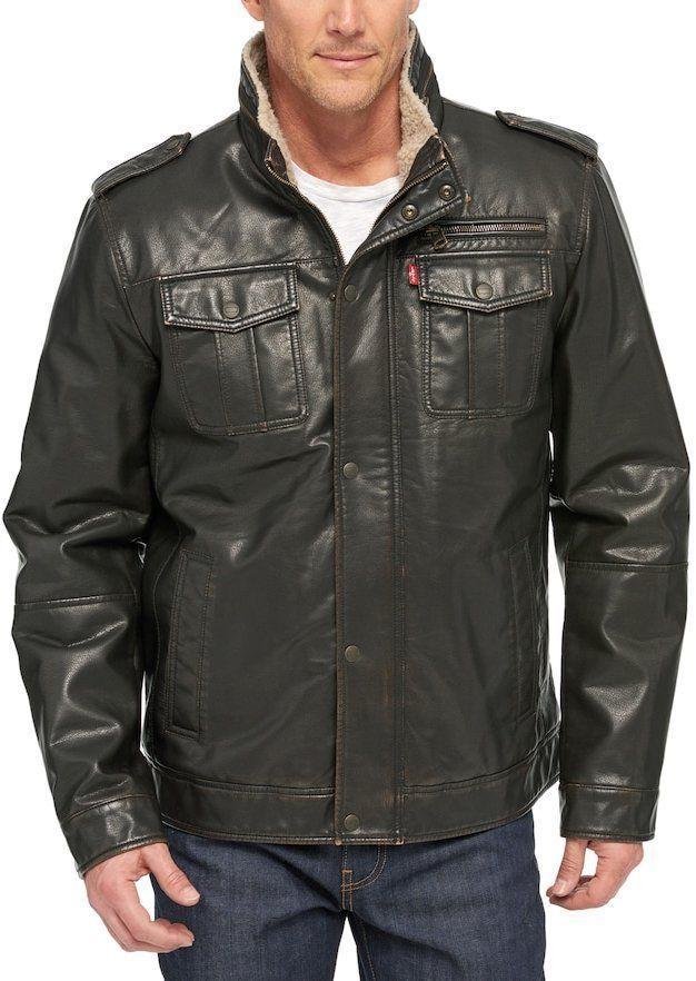 Men's Levi's® Sherpa Lined Faux Leather Trucker Jacket