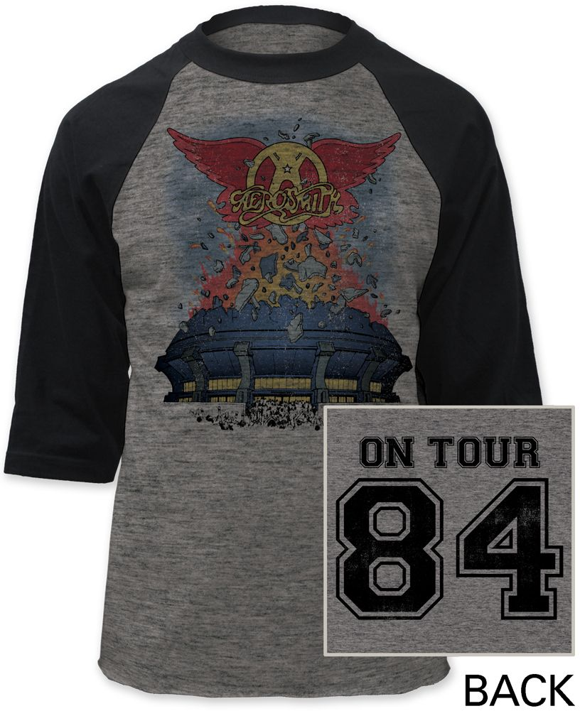 d72e5f7c This Aerosmith gray baseball jersey is from the classic hard rock band's  1984 Tour, called the Back in the Saddle Tour. This shirt features  Aerosmith's ...