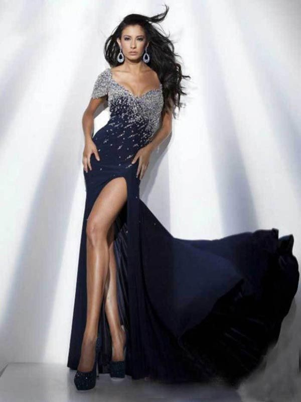 Sheath/Column Off-the-shoulder Floor-length Chiffon Prom Dress #FC463