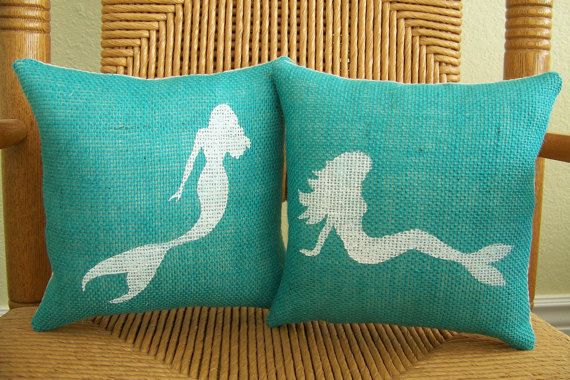 Mermaid pillow, Burlap pillow, Sea life, Under the sea, Beach pillow, Hawaii Pillow, Nautical pillow, stenciled pillow, FREE SHIPPING!