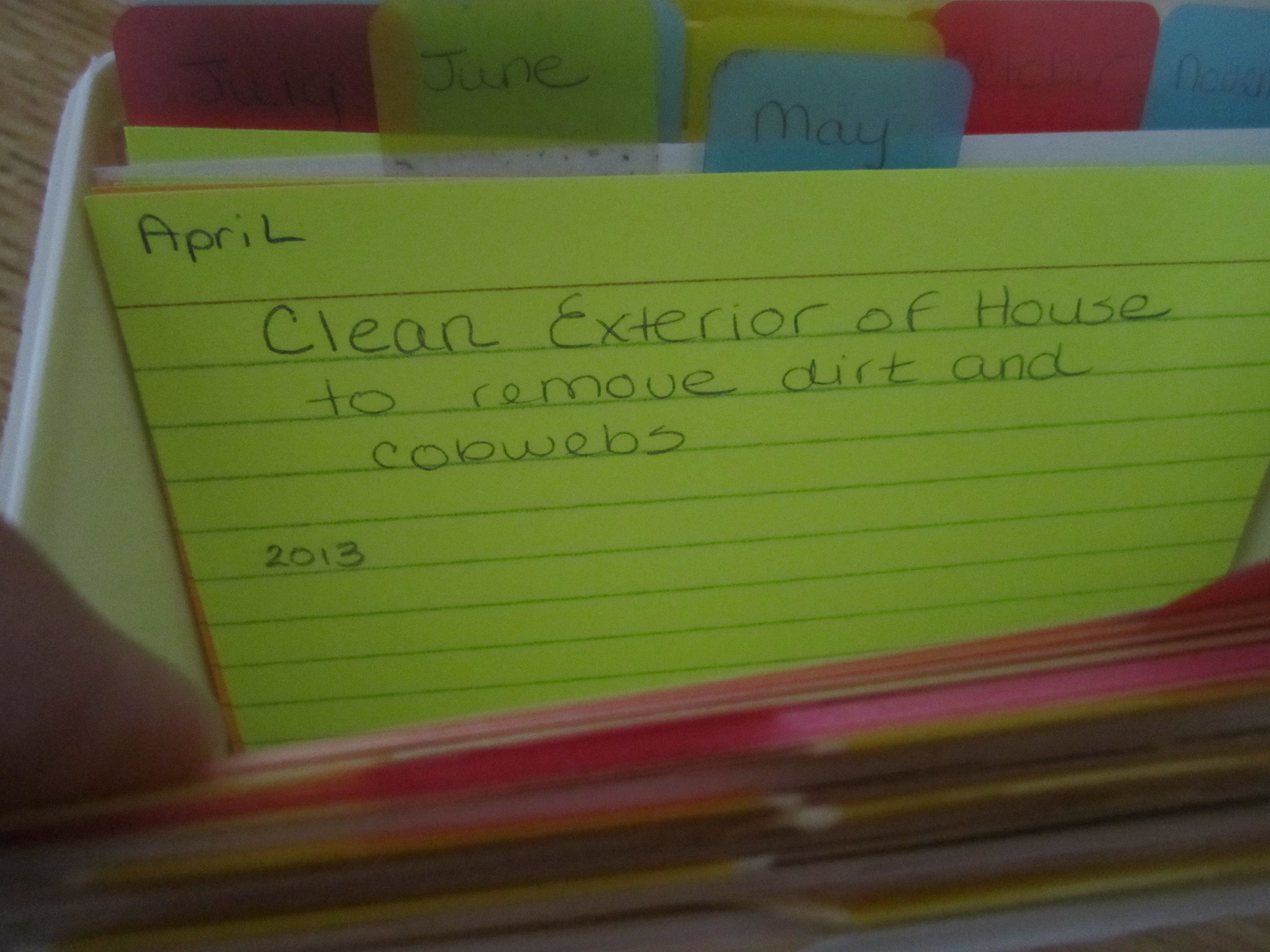 Index card cleaning task system