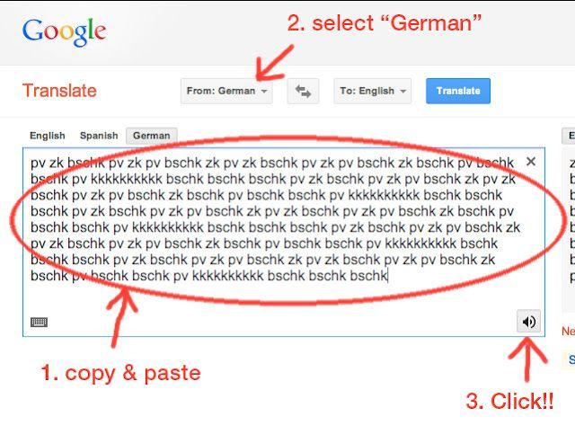 Google Translate Word Hack!!!  Google翻訳→ドイツ語→英語→スピーカー