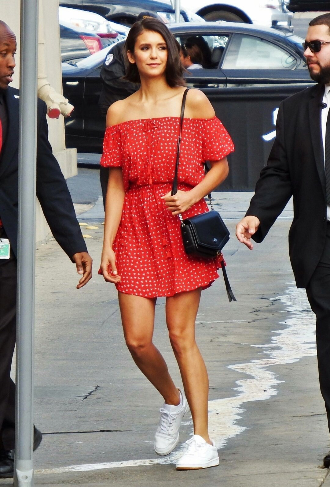 Nina Dobrev Wearing A Red Polka Dot Dress Nina Dobrev