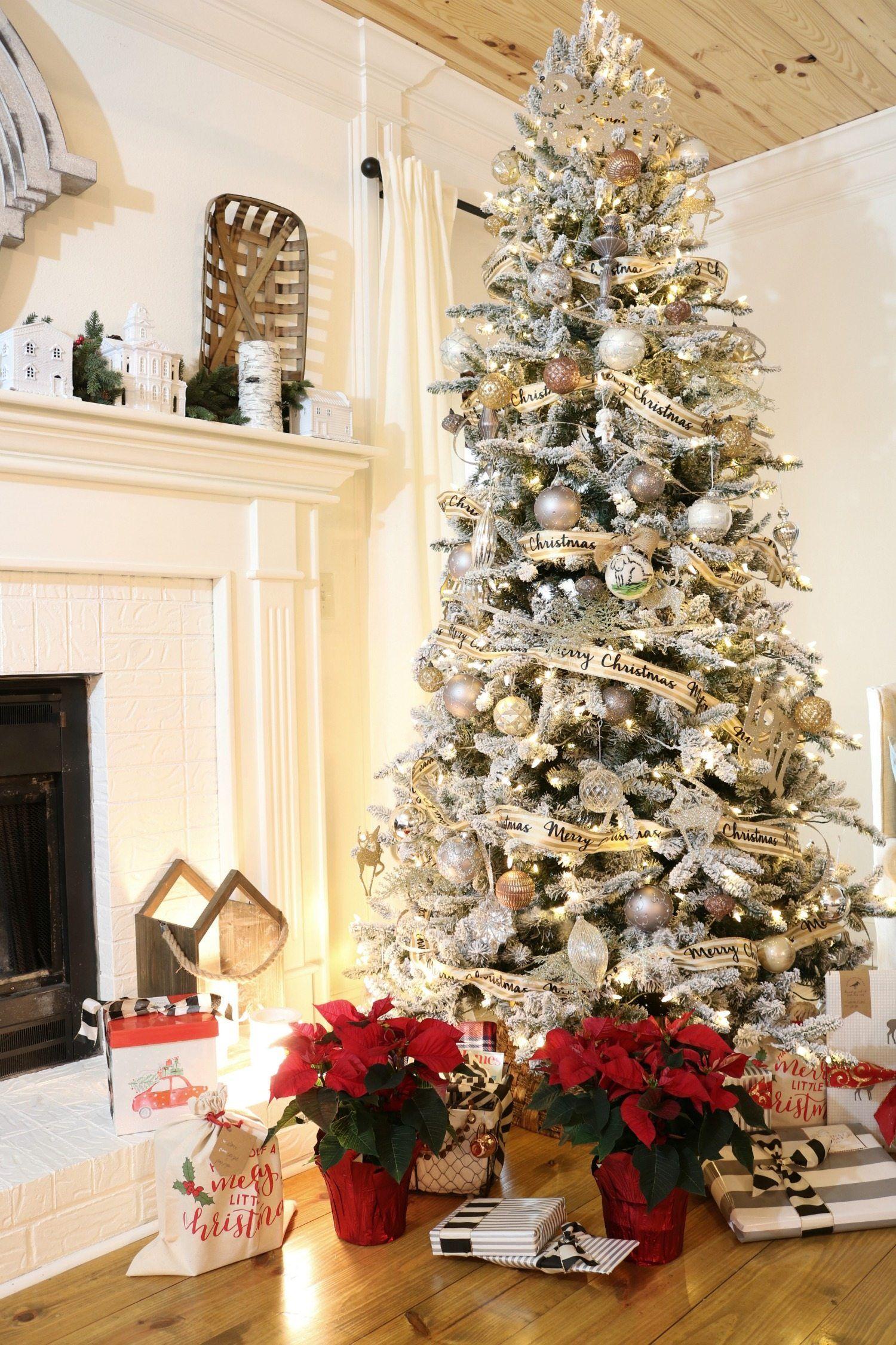 Farmhouse Christmas Tour Flocked christmas trees