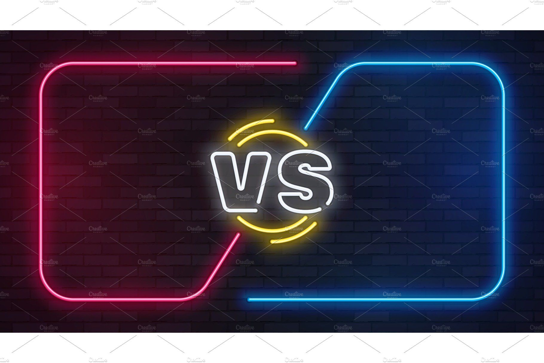 Vs neon. Versus battle game banner Youtube design