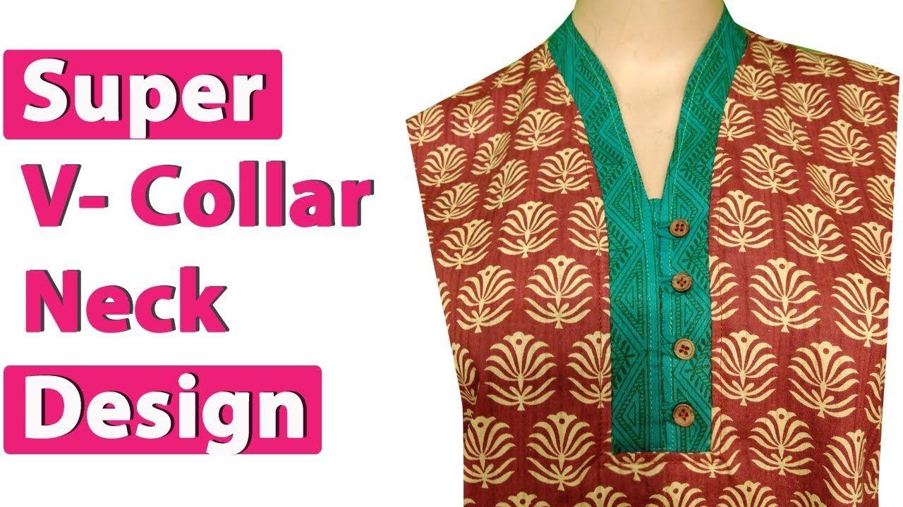 V collar kurti neck design cutting and stitching - YouTube  38016b38f