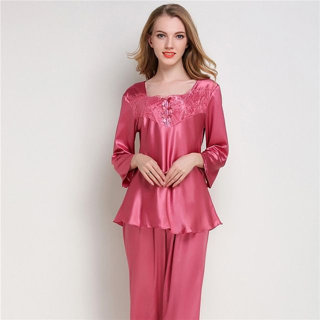 Women Silk Satin Pajama Sets Long Sleeve Sleepwear Pijama Mujer Pyjamas  Suit Female 2 Pcs Home Sleep Wear Lingerie Plus Size Review b413baae7