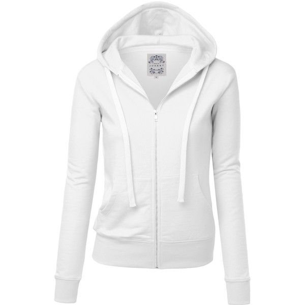 075e2d7c0f6c MBJ Womens Active Soft Zip Up Fleece Hoodie Sweater Jacket ( 19) ❤ liked on  Polyvore featuring tops