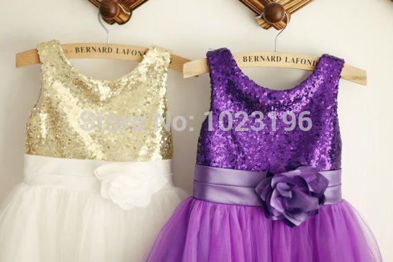 92534ddfb Gold Purple Sequin Ivory Tulle Flower Girl Dress Kids Toddler Children Dress  Junior Bridesmaid Dress for Wedding-in Flower Girl Dresses from Weddings ...