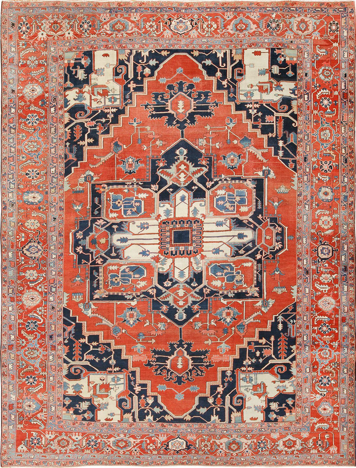 Large Antique Persian Serapi Rug 49595 By Nazmiyal Persian Carpets