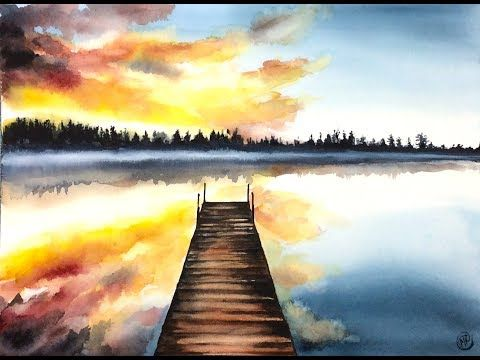 5 Watercolor Sunrise On A Lake Painting Demonstration Youtube
