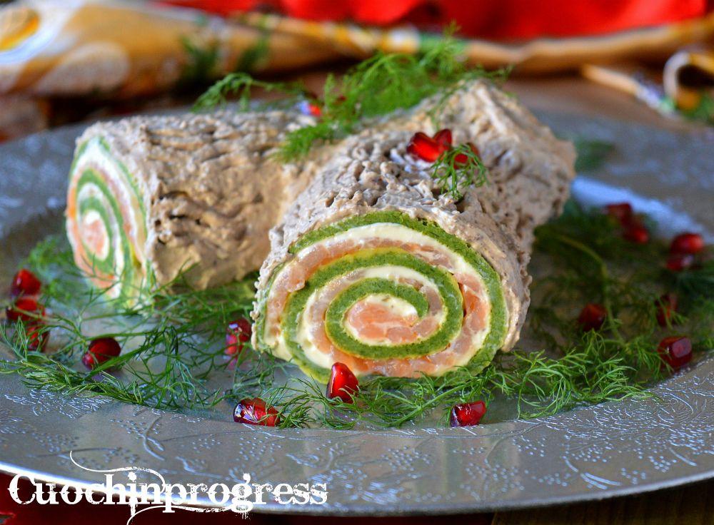 Ricetta Tronchetto Di Natale Salato.Tronchetto Salato Di Natale Ricette Cibo Antipasti Di Natale