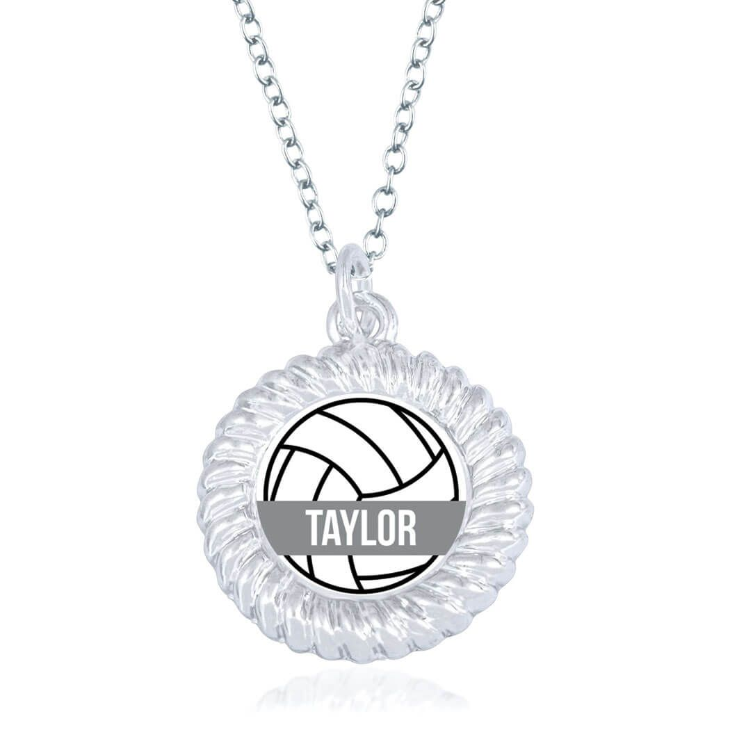 Personalized Volleyball Necklace Ball With Name Braided Circle