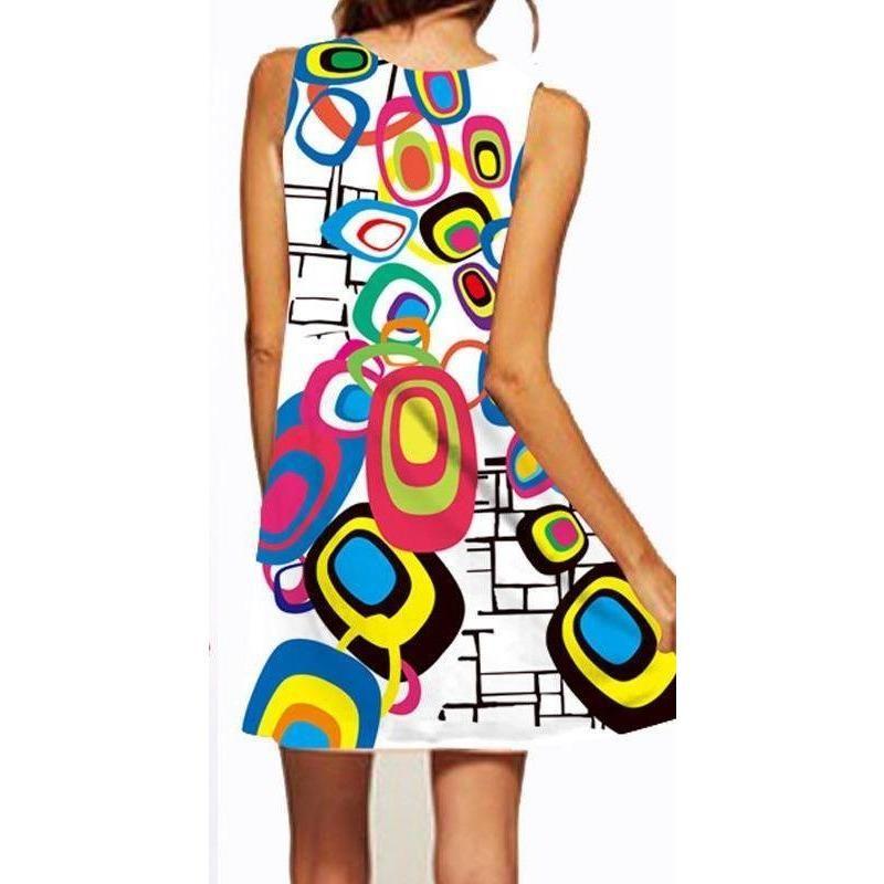 38e1232fbc3 Summer Boho Sleeveless O-neck Printed Casual Beach Mini Dress ...