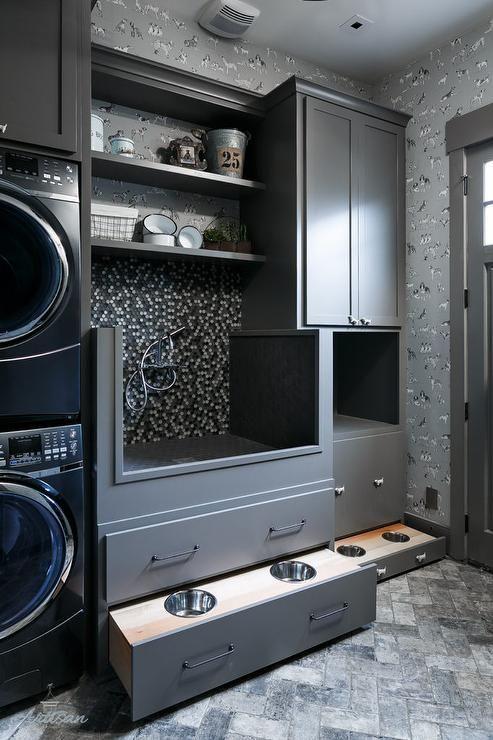 Clad In Thibaut Best Friend Wallpaper, This Pet Friendly Laundry Room  Features Gray Herringbone Floor