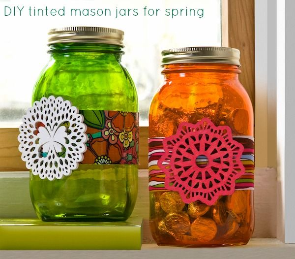 DIY tinted mason jars or other jars.  Will use this idea when I make some glass garden totems.