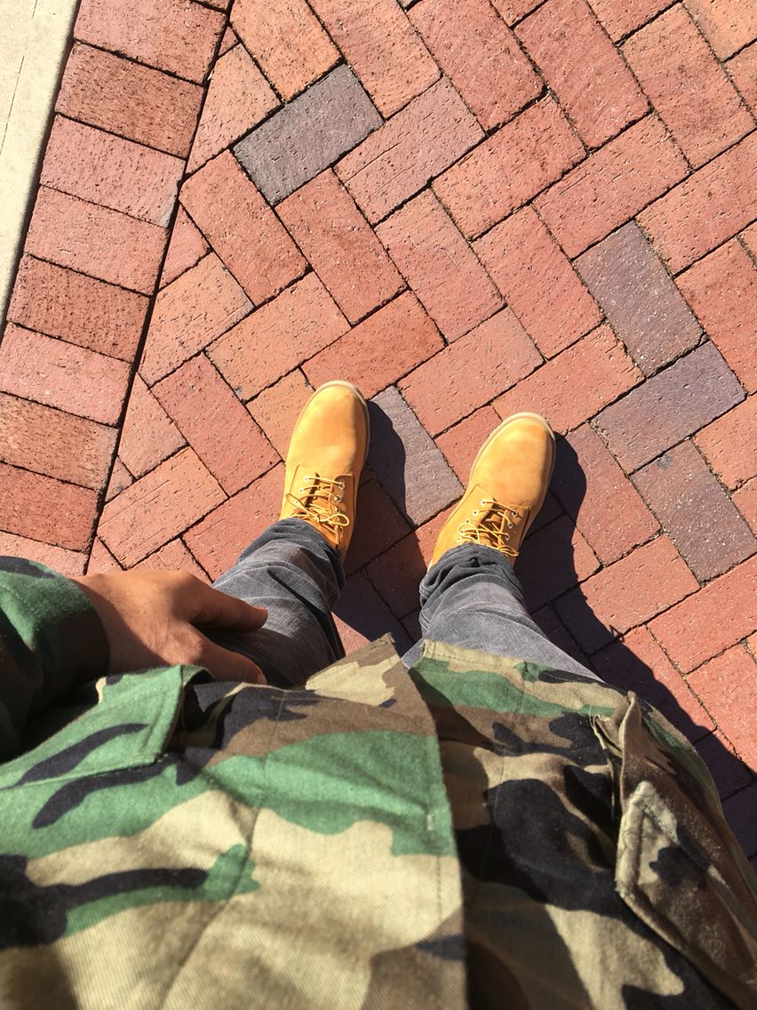 Army coat, hm pants and timberlands